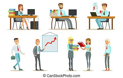 vecteur, debout, occupation, femme, illustration, moments, fonctionnement, business, bureaux, ensemble, gens, caractères, mâle, séance, travail, bureau