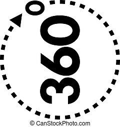 vecteur, degrés, vue, 360, icône