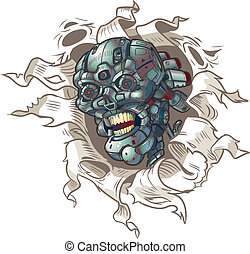 vecteur, dehors, robot, déchirer, crâne
