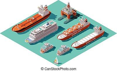 vecteur, derrick, isométrique, huile, bateaux