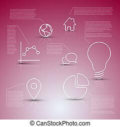 vecteur, descriptif, icônes, diagramme, infographic, divers, gabarit