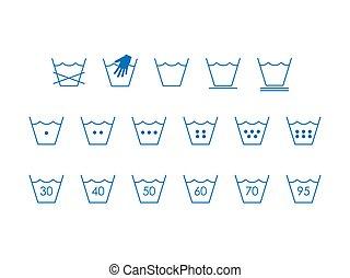 vecteur, design., lessive, illustration, symbols., plat, lavage, symboles