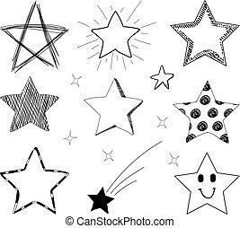 vecteur, dessiné, ensemble, étoiles, main