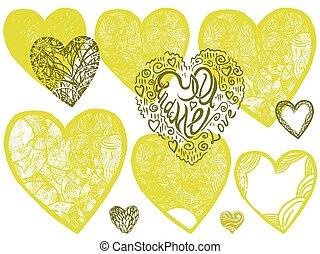 vecteur, dessiné, ensemble, cœurs, main