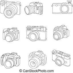 vecteur, dessiné, ensemble, cameras, main