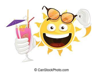 vecteur, dessin animé, été, soleil, smiley