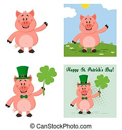 vecteur, dessin animé, 1., plat, mignon, collection, ensemble, caractère, cochon
