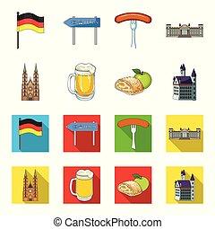 vecteur, dessin animé, allemagne, repère, illustration., plat, ensemble, pays, toile, stockage, collection, symbole, icônes, design.