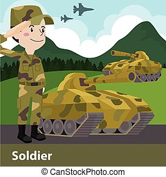 vecteur, dessin animé, arme, militaire, illustration, plat, ...