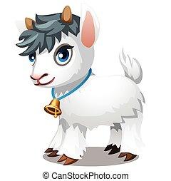 vecteur, dessin animé, arrière-plan., gros plan, chèvre, blanc, isolé, illustration., mignon, peu