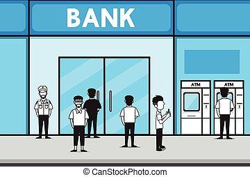 vecteur, dessin animé, banque, design.