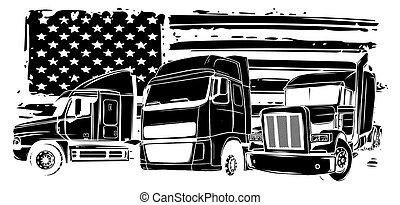 vecteur, dessin animé, conception, semi, art, camion, illustration