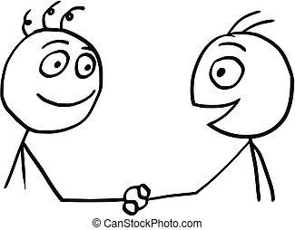 Poign e main hommes deux main caract res secousse dessin anim ic ne concept render - Dessin 2 mains ...