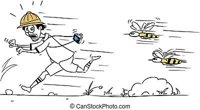 vecteur, dessin animé, de, mâle, touriste, courir loin, depuis, grand, abeille, ou, guêpe