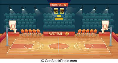 vecteur, dessin animé, fond, de, vide, cour basket-ball