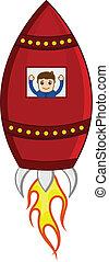 vecteur, dessin animé, homme fusée