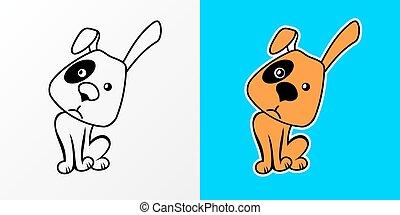 vecteur, dessin animé, illustration, chien