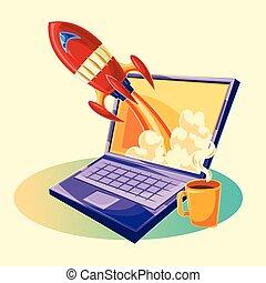 vecteur, dessin animé, illustration, de, les, démarrage, concept, de, business, projet, les, lancement, de, a, nouveau, investissement, projet