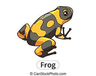vecteur, dessin animé, illustration, grenouille