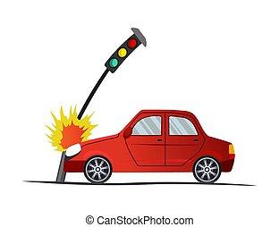 vecteur, dessin animé, illustration, véhicule, fracas, cassé, accident, auto, voiture, lights., case., assurance, abîmer, auto., road., trafic, rencontré