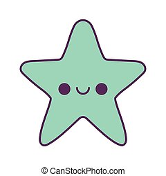 vecteur, dessin animé, kawaii, conception, étoile