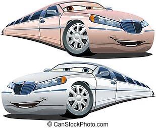 vecteur, dessin animé, limousines
