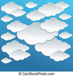 vecteur, dessin animé, nuages blancs, sur, ciel bleu