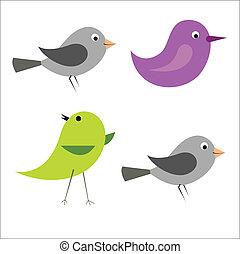 vecteur, dessin animé, oiseaux