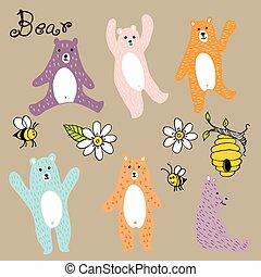 vecteur, dessin animé, ours