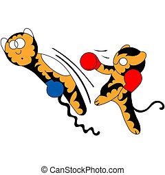 vecteur, dessin animé, petit tigre, mignon, jeune, arts martiaux
