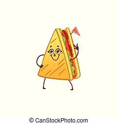 vecteur, dessin animé, sandwich, caractère, onduler, main