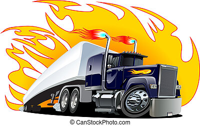 vecteur, dessin animé, semi, truck., one-click, repaint