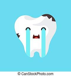 vecteur, dessin animé, tooth., malade