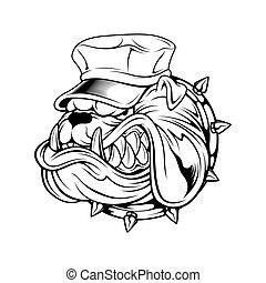 vecteur, dessin, bouledogue, porter, chapeau, main