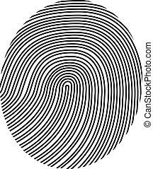 vecteur, dessin, empreinte doigt
