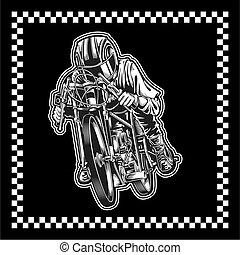vecteur, dessin, main, course motocyclette