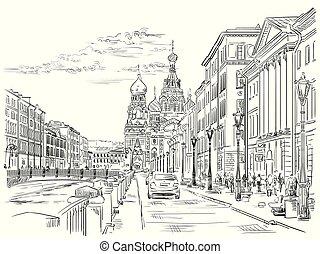 vecteur, dessin, main, petersburg, 4, rue