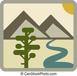 vecteur, dessin, paysage, icône