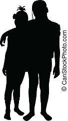 vecteur, deux, silhouette, amis