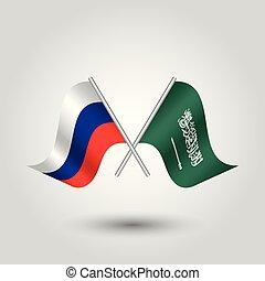 vecteur, deux, traversé, russe, et, arabe, drapeaux, sur, argent, bâtons, -, symbole, de, russie, et, arabie saoudite