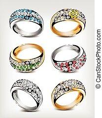 vecteur, diamonds., ensemble, anneaux, mariage
