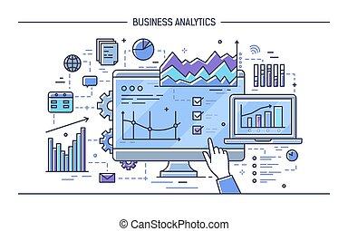 vecteur, différent, concept, financier, pointage, diagrammes, analytics., moderne, graphs., diagrammes, illustration, exposer, informatique, doigt, statistique, analyse, art, ligne, données, style., statistiques