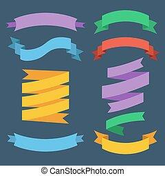 vecteur, différent, ensemble, couleurs, ribbons.