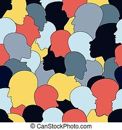 vecteur, différent, ethnic., têtes, arrière-plan., seamless, beaucoup, foule, gens, modèle, profil, divers