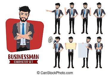 vecteur, différent, gestures., caractère, employé, set., caractères, homme, business, homme affaires, pose, bureau