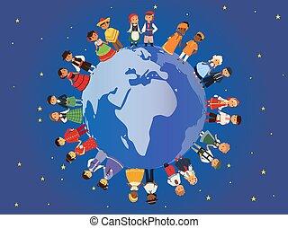 vecteur, différent, gosses, autour de, friendship., national, multiculturel, traditionnel, dress., cultures., déguisement, caractères, nationalités, international, bannière, enfants, la terre, illustration.