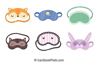 vecteur, différent, illustration, style., masks., ensemble, plat, rigolote, dessin animé, dormir