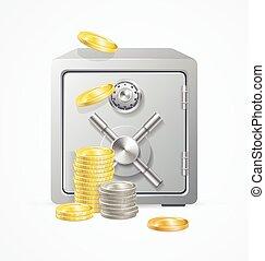 vecteur, différent, sûr, argent., pièces.