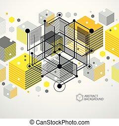vecteur, dimensionnel, isométrique, cube, disposition, linéaire, elements., formes, résumé, différent, jaune, hexagones, maille, fond, cubes, rectangles, carrés, 3d