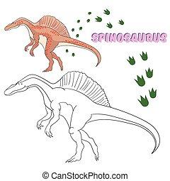 vecteur, dinosaure, pédagogique, livre, jeu, coloration